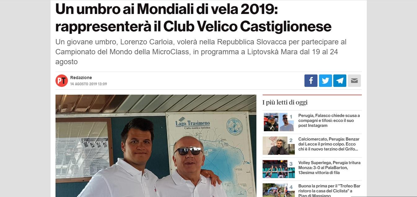 Lorenzo Carloia ai campionati mondiali di vela 2019